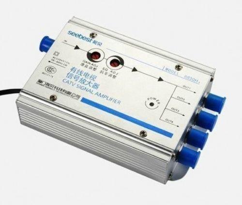 AC 220 V 1 In 4 Out CATV Versterker 30db Verstelbare Kabel TV Antenne Signaal Versterker 45 MHz te 8