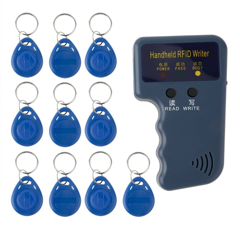 Handheld 125 KHz RFID Copier-Schrijver-Lezers-Duplicator Met 10 stks EM4305 Herschrijfbare ID Keyfob