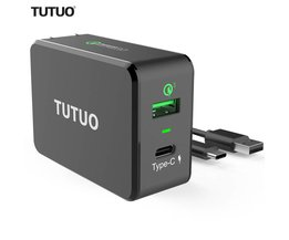 TUTUO Quick Charge 3.0 Snelle USB Type-c Draagbare 33 W Reizen 2 Poorten USB Smart Charger US EU Plug voor Xiaomi iPhone 7 Power Bank