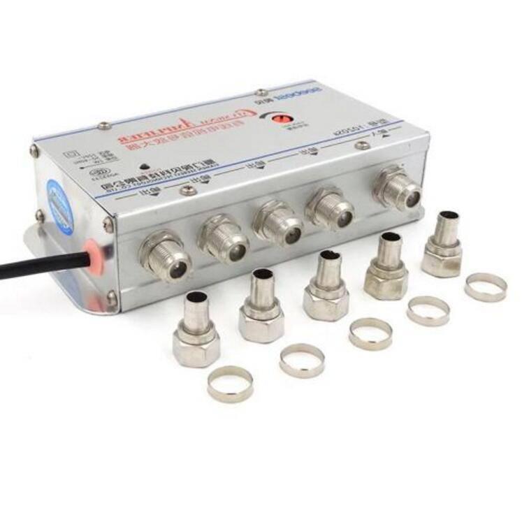 EU plug 4 Way CATV VCR TV Antenne Signaal Versterker Booster Splitter 20DB 1 IN 4 UIT 45-880 MHz 220