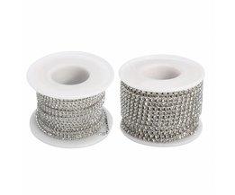 10 M Wedding Bridal Rhinestone Chain Crystal Lint Sparkle Diamante Gem Trim