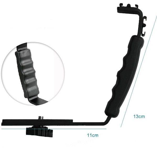 L Flash Bracket Mount 2Schoen Voor Camcorder Mic Microfoon Video Licht Camera