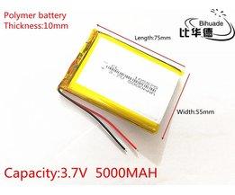 SD 3.7 V 5000 mAh 105575 Lithium Polymeer LiPo Oplaadbare Batterij Voor PSP GPS DVD PAD E-book