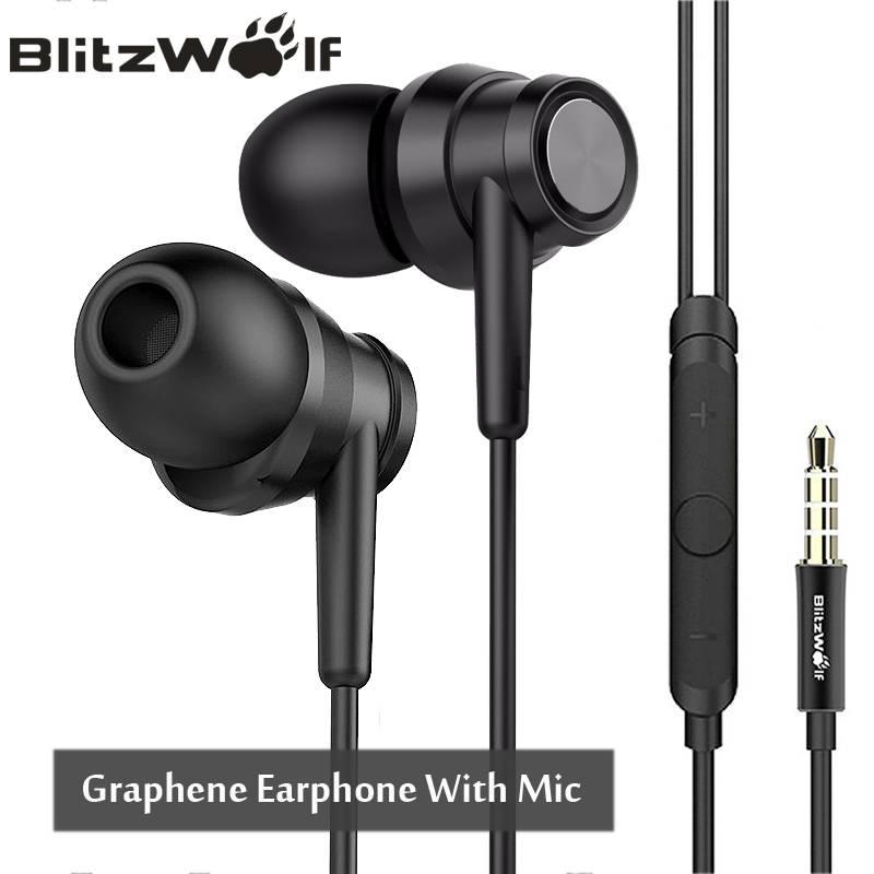 BlitzWolf BW-ES1 3.5mm In-Ear Noise Cancelling Oortelefoon Stereo Oordopjes Grafeen Koptelefoon Met