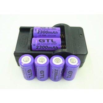 6x2300 mAh 16340 CR123A Oplaadbare Li Paars Voor LED Zaklamp + Reislader