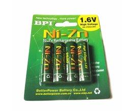 Gratis verzending4 stks/partij bpi aa 2500 mah 1.6 v 1.5 v ni-zn ni zn nizn batterijen oplaadbare batterij