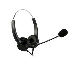 Handsfree Call Center Noise Cancelling Binaural Headset Hoofdtelefoon Met Microfoon MIC 4-Pin RJ9 Kristal Hoofd voor Desk Telefoon