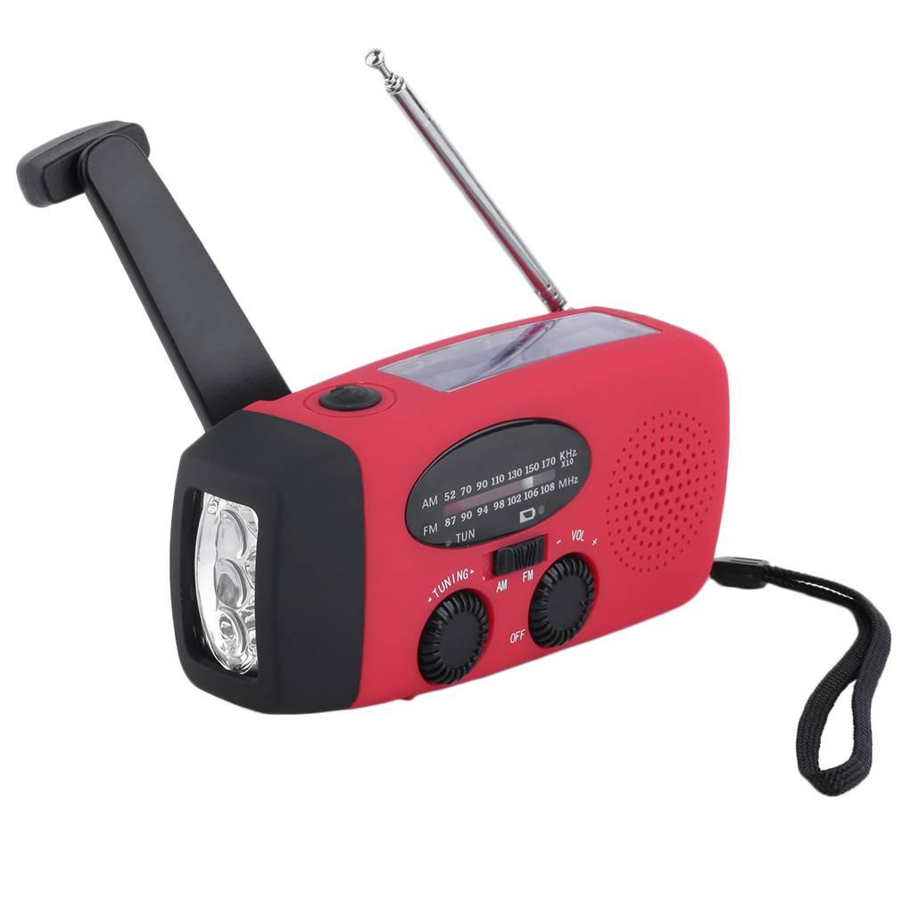 Portable Zonne Radio Hand Crank Zelf Aangedreven Telefoon Oplader 3 LED Zaklamp AM-FM-WB Radio Water