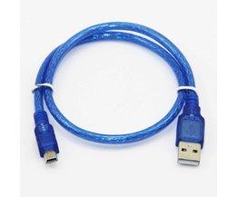 50 cm USB 2.0 Type A Male naar Mini 5 P Mannelijke Mini 5 P USB Kabel M/M dubbele Afscherming (Folie + Gevlochten) Premium Kwaliteit Transparant Blauw