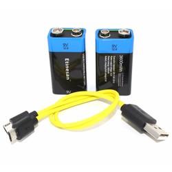 MyXL 2 stks etinesan 9 v 3600mwh lithium li-po oplaadbare li batterij + micro usb cable voor opladen