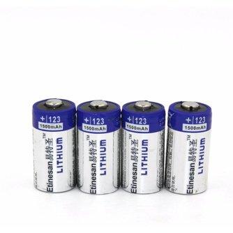 4 stks/partij Etinesan1500mAh Lithium CR123A 3 V Lithium Foto Batterij EL123A CR17345 123 123a 3 Volt batterij