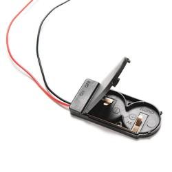 MyXL 5 Stks/partij Hold 2x CR2032 Knoopcelbatterij Houder Case Opslag Zwarte Doos 6 V Draad Lood OP/OFF Schakelaar