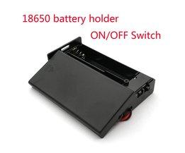 Zwarte Plastic 18650 Batterij Storage Case 3.7 V Voor 2x18650 Batterijen Houder Box Container Met 2 Slots ON/OFF Schakelaar