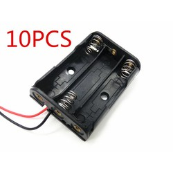 MyXL 10 STKS AAA Batterijen Storage Case Plastic Box Houder met 6 ''kabel Lead voor 3 x AAA Batterij Solderen Aansluiten Zwart digitale