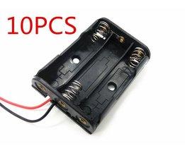 10 STKS AAA Batterijen Storage Case Plastic Box Houder met 6 ''kabel Lead voor 3 x AAA Batterij Solderen Aansluiten Zwart digitale