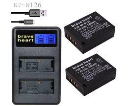 2x bateria NP-W126 NP W126 NPW126 Batterijen + Dual USB Lader voor Fujifilm Fuji X-Pro1 XPro1 X-T1 XT1, HS30EXR HS33EXR X PRO1