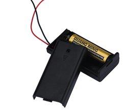 2 x AA 3 V Zwart Batterij Houder Connector Opbergdoos Doos OP OFF Schakelaar Met Lood Draad lichtgewicht