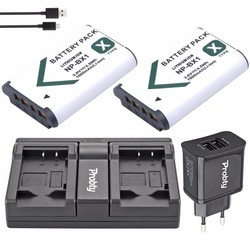 MyXL 2 Stks PROBTY NP-BX1 NP BX1 Batterij + USB Dual Charger + Plug voor Sony RX100 IV WX300 H400 HX300, HDR-AS10 AS200VR CX240 PJ275