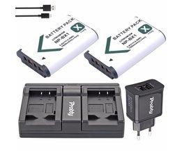 2 Stks PROBTY NP-BX1 NP BX1 Batterij + USB Dual Charger + Plug voor Sony RX100 IV WX300 H400 HX300, HDR-AS10 AS200VR CX240 PJ275