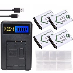 MyXL 4 stks np-bx1 np bx1 npbx1 batterij + usb oplader voor sony dsc & HDR H400 HX300 HX50V HX90 HDR AS10 AS15 AS20 AS30V AS100V camera
