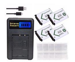 4 stks np-bx1 np bx1 npbx1 batterij + usb oplader voor sony dsc & HDR H400 HX300 HX50V HX90 HDR AS10 AS15 AS20 AS30V AS100V camera