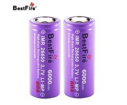 Bestfire 26650 Batterij 3.7 V Ion 6000 mAh 60A Oplaadbare Batterij voor E Sigaret Zaklamp Led Zaklamp 2 stks/partij