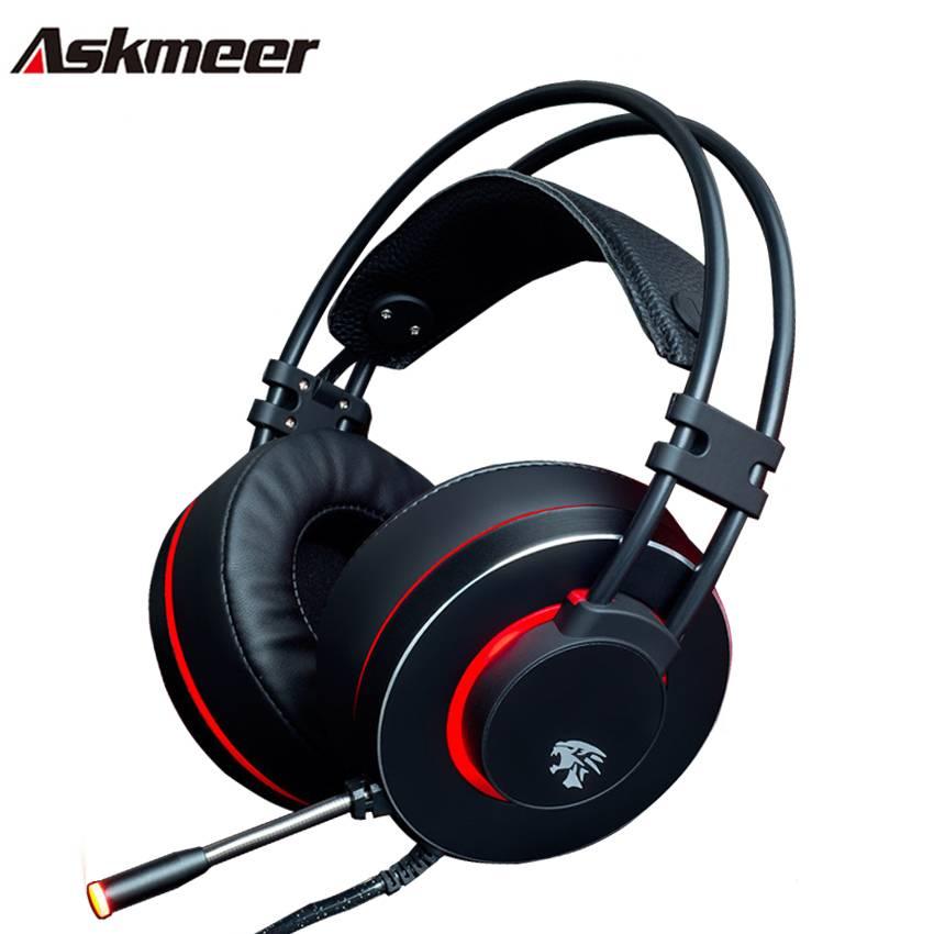 Askmeer V12 PC Gamer Headsets Gaming Hoofdtelefoon USB Stereo Game Headset met Microfoon Led Light v