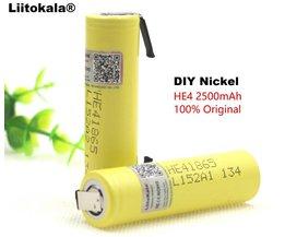 4 STKS liitokala100 %originele HE4 18650 oplaadbare lithium-ion batterij 3.6 V 2500 mAh batterij 20A35A ontlading + DIY nikkel