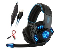Noswer I8s PS4 Gaming Hoofdtelefoon Stereo headset met Microfoon 3.5mm adapter Led Light voor PC Computer Laptop Mobiele telefoon Game