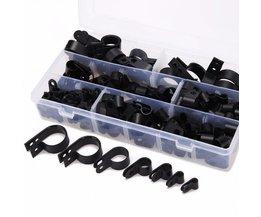 200 stks/doos Diverse Zwarte P Clips Fasteners Mayitr Nylon Plastic P Type Klem Voor Kabelgoot Buizen Sleeving