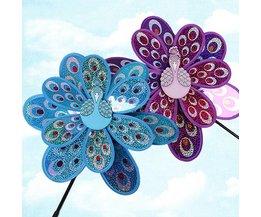Dubbellaags Pauw Laser Pailletten Windmolen Kleurrijke Wind Spinner Thuis Tuin Decor Yard Kids Toy # T026 #