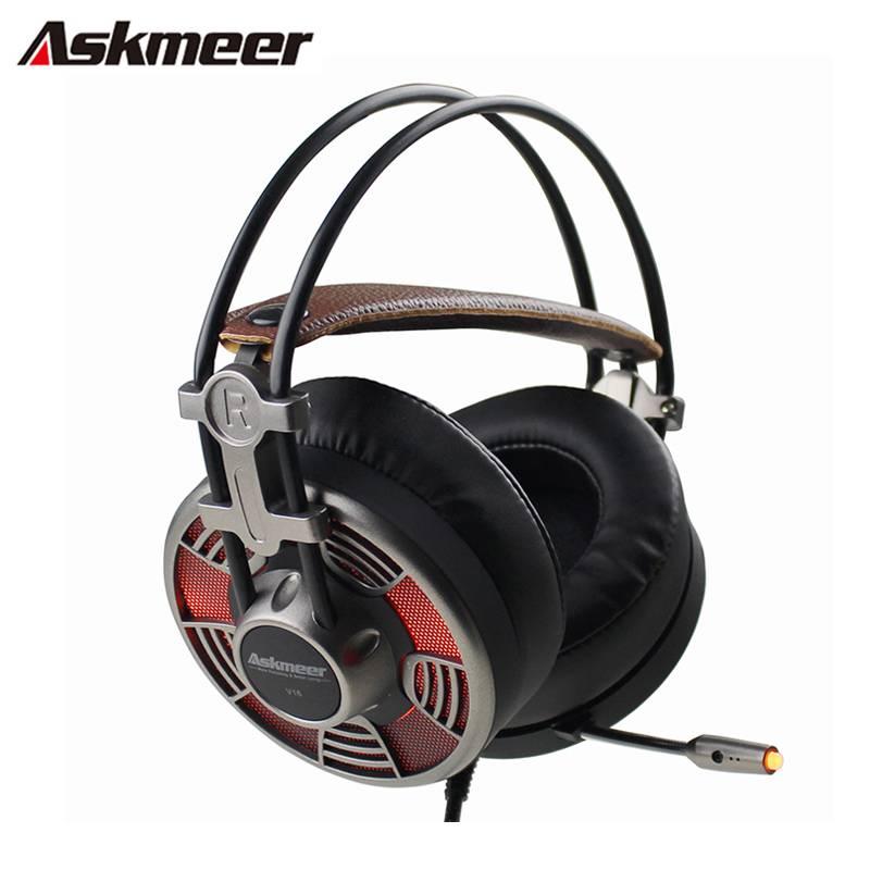 Askmeer V16 PC Gamer Computer Gaming Headset Super Grote Oorbeschermers Stereo USB Plug Gaming Hoofd