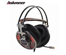 Askmeer V16 PC Gamer Computer Gaming Headset Super Grote Oorbeschermers Stereo USB Plug Gaming Hoofdtelefoon Met Mic Led Noise Cancelling