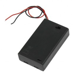 MyXL Twee Draad Leidt OP/OFF Schakelaar Zwart 3x1.5 V AAA Batterij Houder Case w Cover