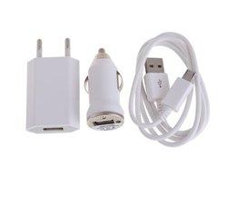 3 in1 EU Muur Power Adapter Opladen Lader + autolader 1 m Micro USB Sync Datum Gevlochten Charger Kabel Voor Sumsung S4 L3EF
