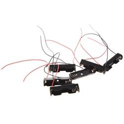 MyXL 6 Stks Bedrade Connector 1.5 V AAA Batterij Houder Plastic Case Opbergdoos zwart