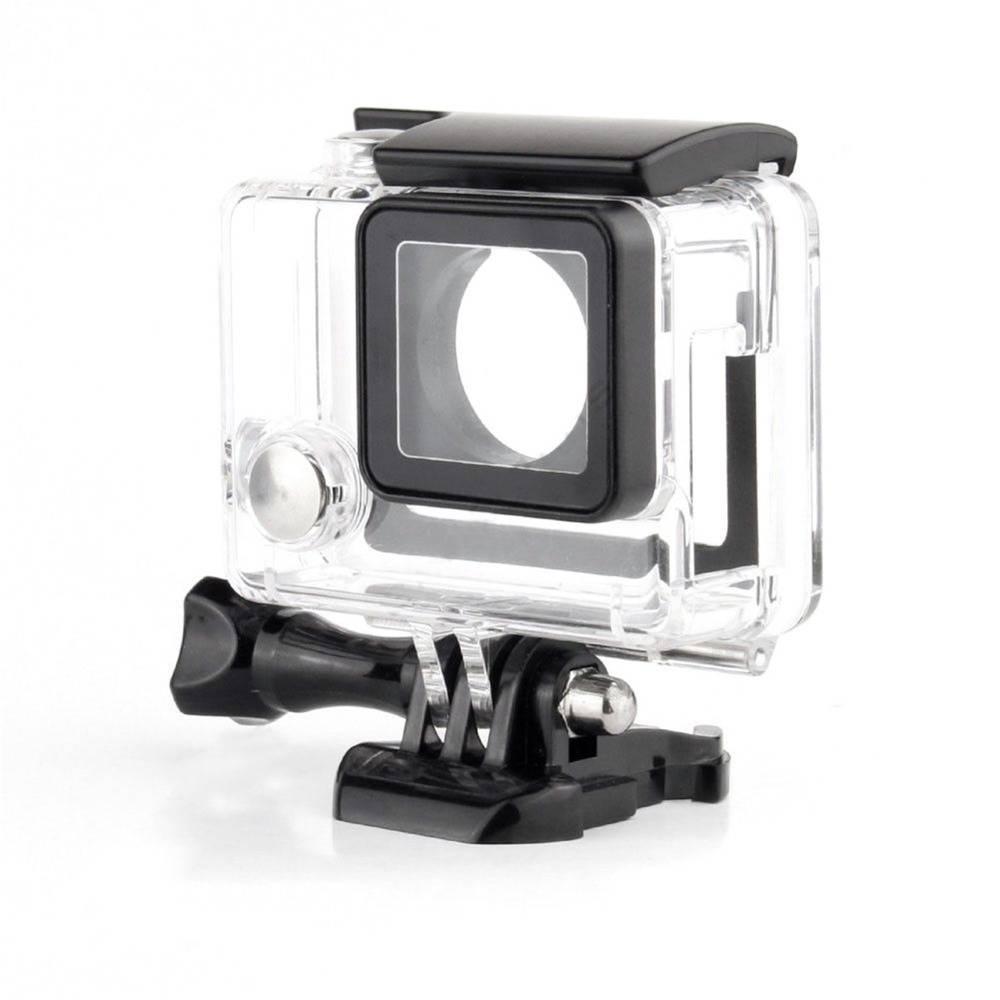 Side open skeleton behuizing case + microfoon + adapter kit voor gopro hero 3 3 + 4 camera