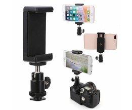 Collectie 1 st 360 Swivel Balhoofd Flitsschoen Adapter Mount Met Telefoon Clip Houder voor DSLR Camera Mobiele telefoon
