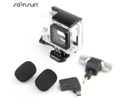 SOONSUN 3 in 1 Skeleton Side Open Behuizing Shell Case + microfoon + Microfoon Adapter voor Gopro Hero 4 3 + 3 Accessoires