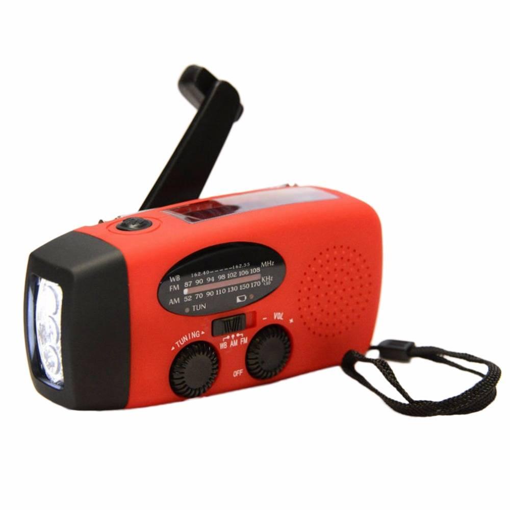 Portable Rode Solar Radio Hand Crank Zelf Aangedreven Telefoon Oplader 3 LED Zaklamp AM-FM-WB Radio