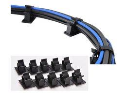 10 STKS 25mm Zwart Zelfklevend Cord Cable Clips lijm kabelklem