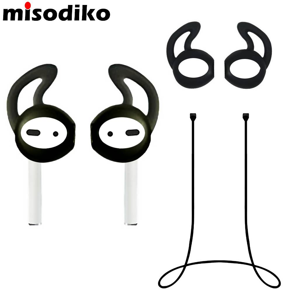 Misodiko Accessoires voor Apple AirPods, Silicone Anti Verloren Strap & Oor Skin Haken Cover, Airpod