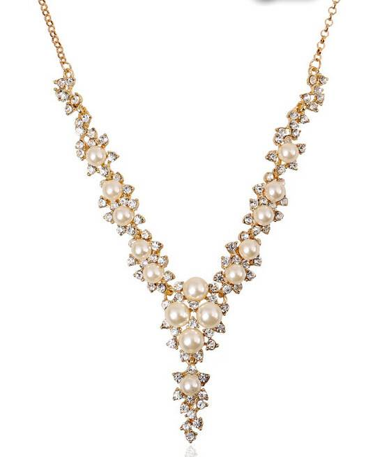 Groothandel luxe Gesimuleerde pearl rhinestone crystal flower choker ketting bead werk sieraden voor