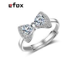 Volledige Crystal Rhinestone Strik Ring Aanpasbare Grote Zirkoon Zilver En Rose Goud Plating Boog Ring Voor Vrouwen Crystal Wedding Ring