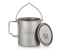 TOMSHOO 750 ml Titanium Pot Titanium Water Mok Cup met Deksel en Opvouwbare Handvat Outdoor Camping Pot Koken Potten Picknick Hangen Pot
