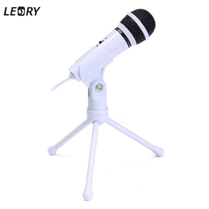 LEORY Condensator Microfoon 3.5mm Wired Dynamische Stereo Desktop Microfoons Mic Met Holder PC Lapto