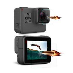 MyXL Gehard Glas Camera Lens Lcd-scherm Clear Beschermfolie Protector Beschermhoes Voor GoPro Gaan pro Hero5 Hero6 Hero 5/6 zwart