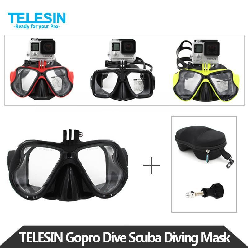 Telesin duiken masker snorkel zwemmen googles bril met opbergtas voor gopro hero 5 4 3 2, xiaomi yi