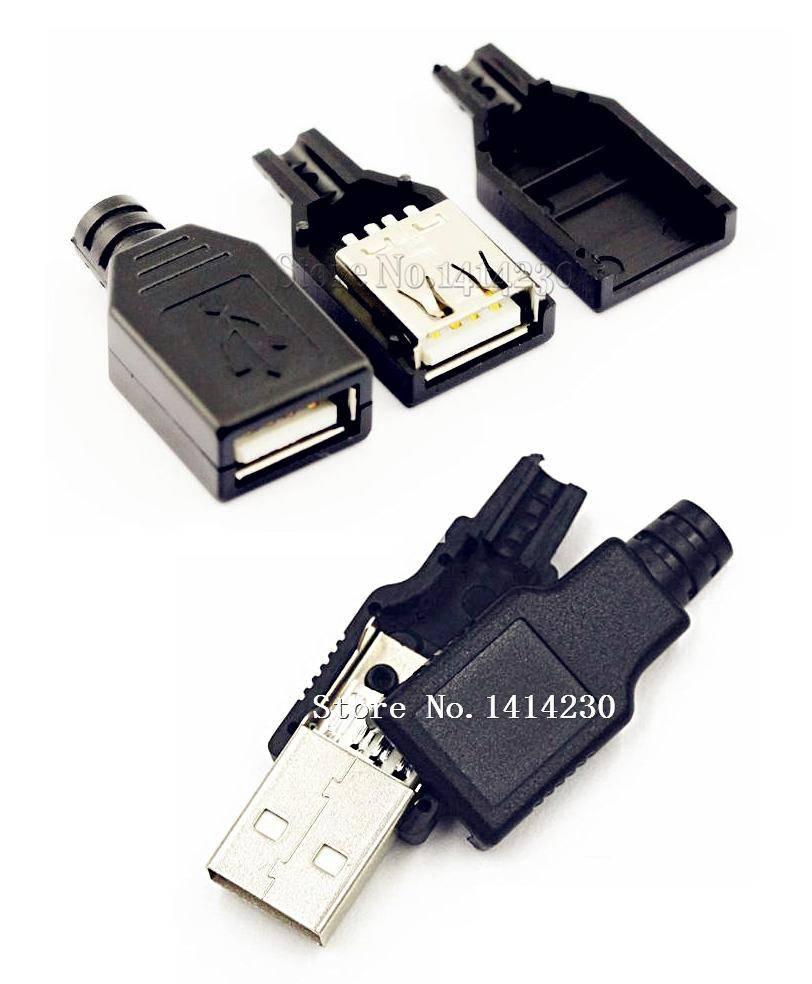 10 Stks Type Een Vrouwelijke en Een Mannelijke USB 4 Pin Plug Socket Connector Met Zwarte Plastic Cover USB Socket (5 stks mannelijke + 5 stks vrouwelijke)