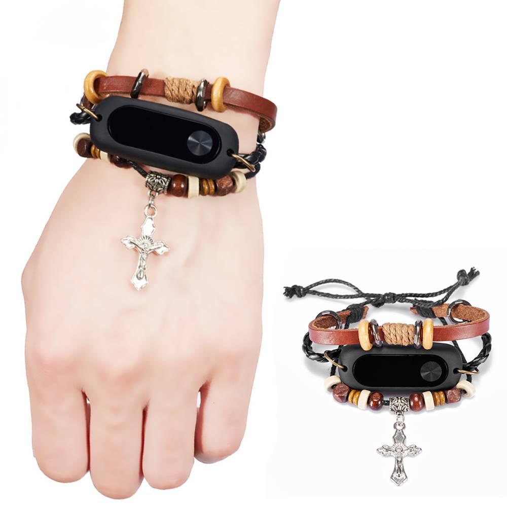 Gosear Breien Gesneden Kruisen Kralen Armband Vervanging Band Polsband voor Xiaomi Mi band 2 Xiomi X